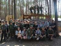 """Sila """"Nej!"""" - Bild som visar stammen """"Nej!"""" på scoutlägret 2019 i Lipowiec. En grupp människo"""