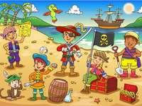 Piraci - Ułóż układankę. Ile widzisz dzieci?.