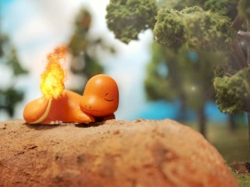 Charmander - The best Pokémon in existence. A close up of a piece of cake.