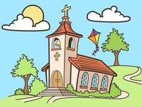 1st / 2nd Church - The church we all are. Puzzle of a church. Puzzle 1st Church. Puzzle of a church for 1/2. A drawing