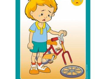 Émotions - tristesse - Le garçon pleure parce que son vélo est tombé en panne.