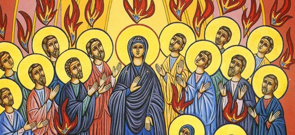 Pentecostes - Pentecostes. Uma das pinturas que retratam a descida do Espírito Santo. Ilustração que descreve a descida do Espírito Santo (6×4)