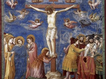 """Giotto's Crucifixion - At the foot of the cross we understand that Jesus """"loves us to death""""."""