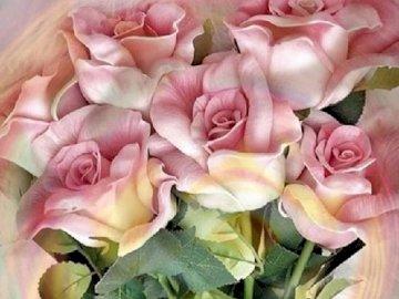 Rosenstrauß. - Puzzle: ein Strauß rosa Rosen.