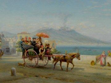 Paseo en carro, - Paseo en carro , 1900. EL Henry. Óleo sobre lienzo.
