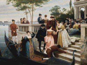 LLEGANDO A LA BOLA, MURANO, - LLEGANDO A LA BOLA, MURANO, 1870. Eugen von Blaas. Leleo sobre lienzo.