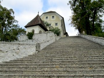 Stairs to the church - Church on the island of Lake Bled.