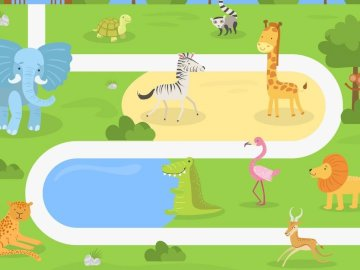 Zoológico de animales - Rompecabezas simple para niños animales en el zoológico.