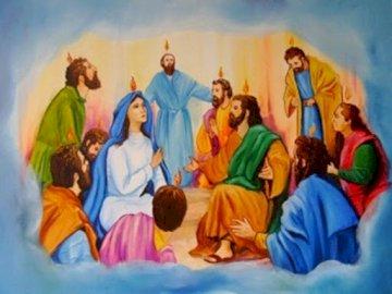 Pentecoste - Organizza la scena da Pentecoste. Un gruppo di persone l'una intorno all'altra.