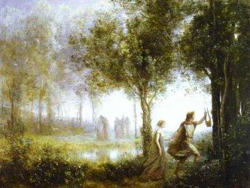 Orphée et Euridice - Puzzles mythologiques. Je vous invite à jouer. Un arbre dans une forêt.