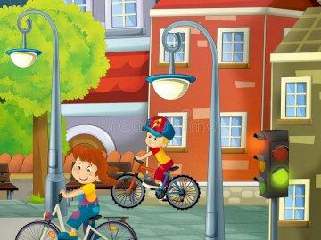 Niños en la ciudad - medios de transporte en la ciudad. Una persona que viajaba en la parte trasera de una bicicleta.