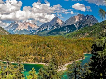 Beautiful mountain - Beautiful mountain with stream and forest. A close up of a hillside with trees and a mountain in the