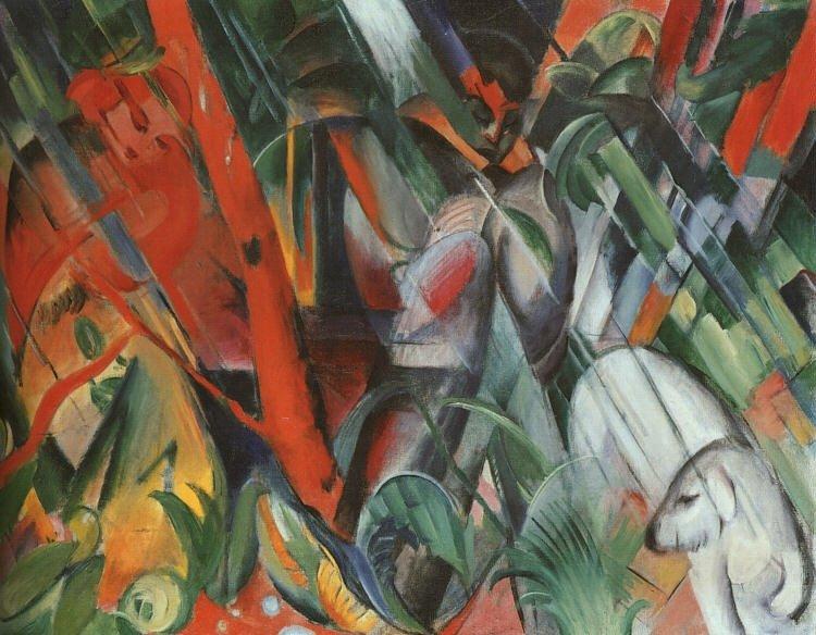 Франц Марк - Упражнение експресионизъм. Група цветни графити (7×5)