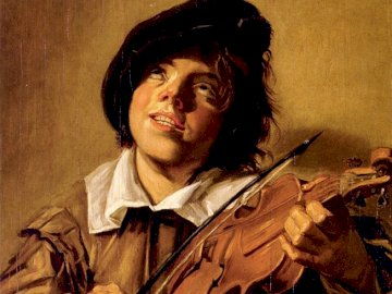 "A boy playing the violin - A boy playing the violin, illustration for ""Janko the Musician"". A person holding"