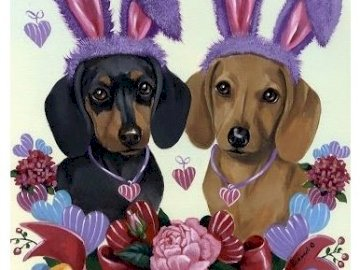 Easter dachshunds - Dachshunds, cute easter image. A close up of a dog.
