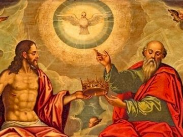Holy Trinity - Arrange the Puzzles that depict the icon of the Holy Trinity. A group of people posing for the camer
