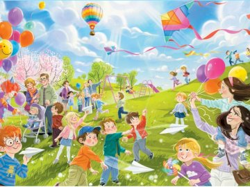 Balloons and kites - Point in the illustration to all objects that float in the air.
