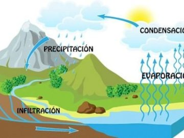 WATER CYCLE - BUILD THE PUZZLE ON THE WATER CYCLE. A close up of a logo.