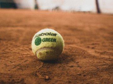 Palla da tennis - Pallina da tennis verde su terra. Francia. Una stretta di una palla.