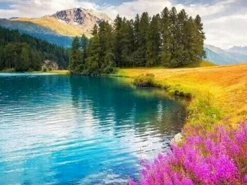 A beautiful landscape. - Puzzle: beautiful landscape. A body of water surrounded by trees.