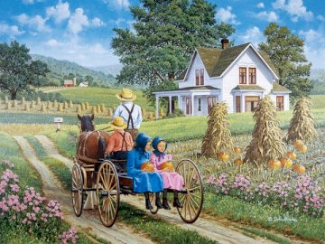 Late summer - Jigsaw puzzle. Landscape. Late summer. A man riding a horse drawn carriage in front of a house.