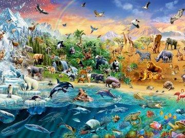 Il regno degli animali. - Puzzle. Regno di animali selvatici.
