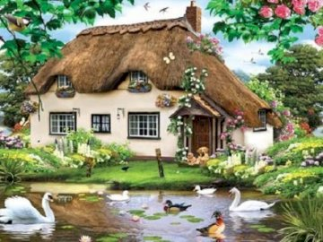 Painting. - Painting. Thatched cottage. A flock of seagulls in a pool of water.