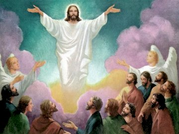 Ascension - Image of the Lord Jesus ascending to heaven. A group of people around each other.