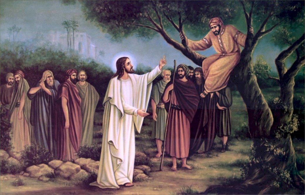 Zacheusz i Pan Jezus - Zadośćuczynienie- Zacheusz i Jezus. Grupa ludzi pozujących do zdjęcia (6×6)