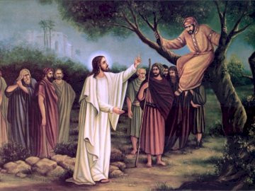 Zacchaeus and Jesus - Atonement - Zacchaeus and Jesus. A group of people posing for a picture.