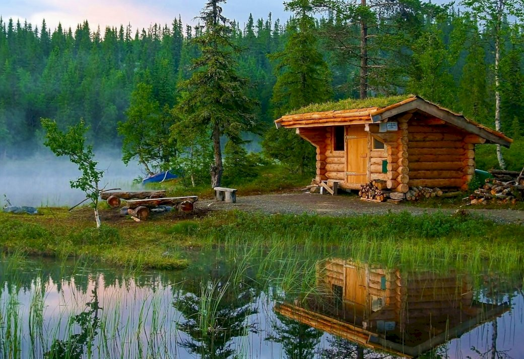 Cottage On The Lake In The Forest, Fog - Wooden Cottage On The Lake In The Forest. A house with a pond in front of a lake surrounded by trees