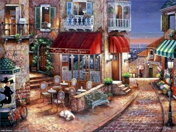 Cafe Romantique - Cafe Romantique Francia. A chair sitting in front of a building.