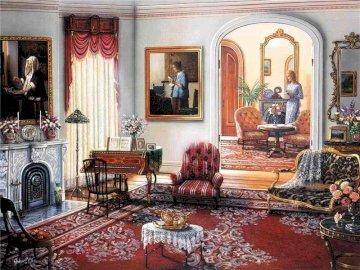 Precioso salon - Precioso salon con piano. A living room filled with furniture and a fire place.