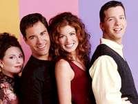 Will et Grace Cast - Un puzzle avec les quatre acteurs principaux de Will et Grace. Megan Mullally, Eric McCormack, Debra
