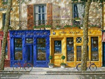 Locales de color - Locales de color azul y amarilla. Sklep w budynku.