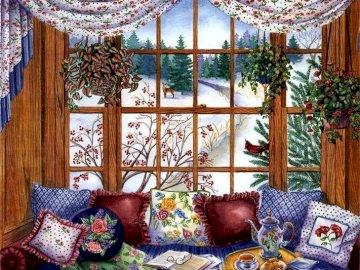 Ventanal adornado - Ventanal adornado con cogines. Salon wypełniony meblami i dużym oknem.