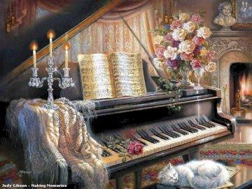 Piano con partitura y gato - Piano con partitura y gato blanco. Kominek siedzi w pokoju.
