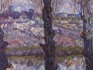 Verger en fleurs avec vue sur Arles - Peinture de V. van Gogh Un verger en fleurs dominant Arles. Une peinture d'un arbre.