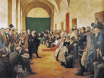 May Revolution- Debate in the Cabildo - The residents of Buenos Aires debated the continuity or not of the viceroy. A group of people in a r