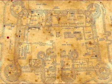 Carte Poudlard - La carte de Poudlard pour un jeux et pi c'est tout. Un gros plan de texte sur fond blanc.
