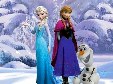 La reine des neiges - puzzle de la reine des noms. Un couple de personnes debout dans la neige.