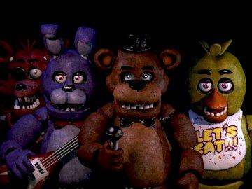 Cinq nuits chez Freddys - ghjfdrhfvghjmvujvhfhnbgvhtrhrtgyrhnfggh. Un gros plan d'une poupée jouet.