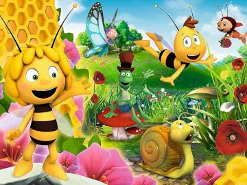 Maja the bee - puzzle - Arrange the puzzles. Which animals are shown in the illustration?. A group of colorful flowers.