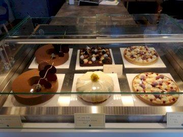 torty - torty - słodkości z gdańskiej cukierni. Wiązka jedzenia na ladzie.