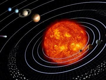 Układ Słoneczny - Ułóż grafikę z Układem Słonecznym. Okrągła metalowa patelnia.