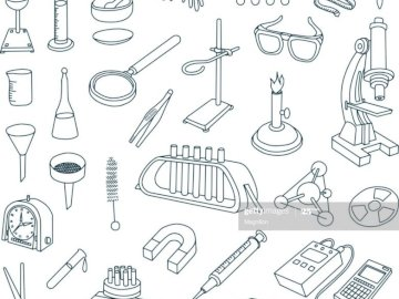 Lab's material - Laboratory supplies in cartoons.