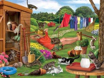 Colpire i gatti. - Puzzle. Animali. Gatti vivaci in giardino.