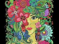Femeie în flori - Un exemplu de artă japoneză, o femeie înconjurată de flori. O suprafață de țesătură.