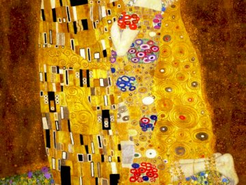 Painting of Gustaw Klimt's kiss - Painting The kiss of Gustav Klimt, or the marriage of heaven and earth. 1907-1908, oil on canvas usi