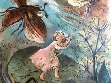 Thumbelina - Hero of school reading. A painting of a book.